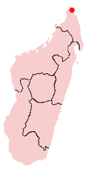 Location of Antsiranana in Madagascar