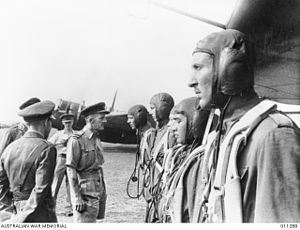 Royal Netherlands East Indies Army Air Force - Air Vice-Marshal Conway Pulford greeting pilots of the ML-KNIL in Singapore, January 1942.