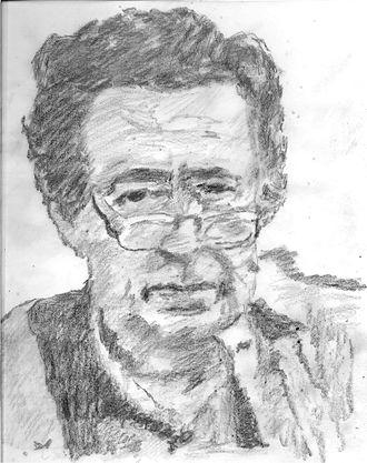 Mordecai Richler - Pencil sketch of Mordecai Richler