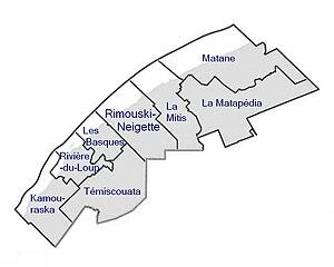 Bas-Saint-Laurent - Map of Bas-Saint-Laurent with regional counties