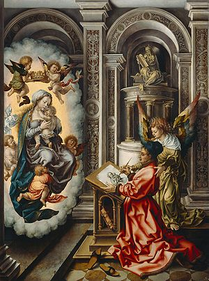 Jan Gossaert - St Luke Painting the Madonna by Jan Gossaert (1520–25) Wood, 109.5 × 82 cm Kunsthistorisches Museum, Vienna