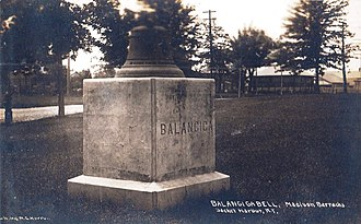 Balangiga, Eastern Samar - The signal bell displayed in the Madison Barracks at Sackets Harbor, New York station of the 9th US Infantry Regiment at the turn of the 20th century. This bell was later moved to Camp Red Cloud in Korea.