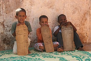 Islam in Mauritania - Boys taking Qur'an lessons in Mauritania