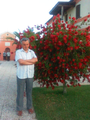Man with crossed arms and a red flower tree in Loreto, Italy.png
