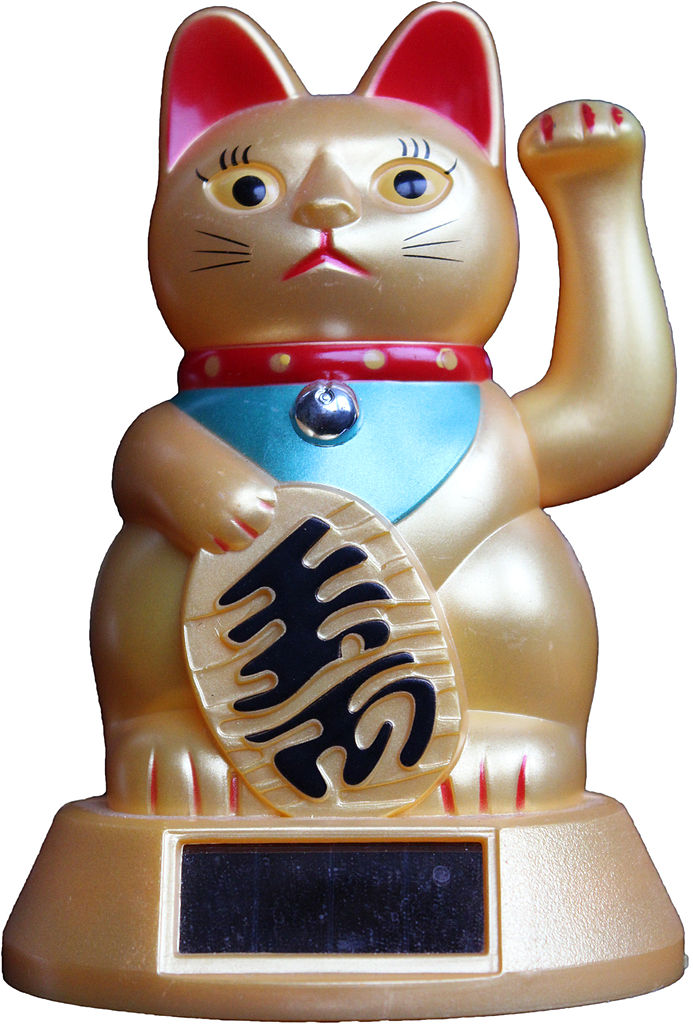 Japanese Lucky Cat Black And Red Pattern