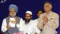 "Manmohan Singh, releasing a collection of Parliamentary speeches of Maulana Syed Asad Madani, at the Fida-e-Millat Seminar on ""Hazarat Maulana Syed Asad Madani Life and Contribution"", in New Delhi on April 23, 2007.jpg"