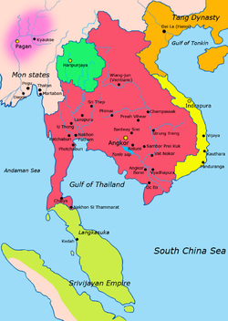 Map of Southeast Asia 900 CE; Khmer Empire in red