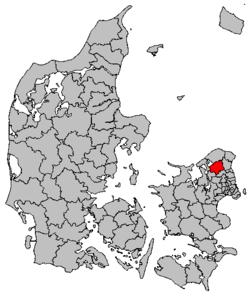 Lokalisering af Hillerød Kommune