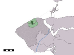 The village centre (dark green) and the statistical district (light green) of Oostkapelle in the municipality of Veere.