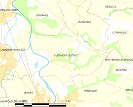 Mapa obce Clermont-le-Fort