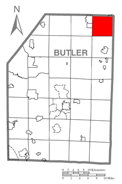 Map of Butler County, Pennsylvania highlighting Allegheny Township
