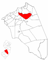 Springfield Township highlighted in Burlington County. Inset map: Burlington County highlighted in the State of New Jersey.