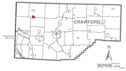 Location of Conneautville in Crawford County