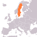 Map of Europe with Sweden in orange color.png
