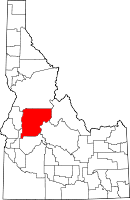 Map of Idaho highlighting Valley County