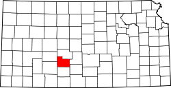 map of Kansas highlighting Edwards County