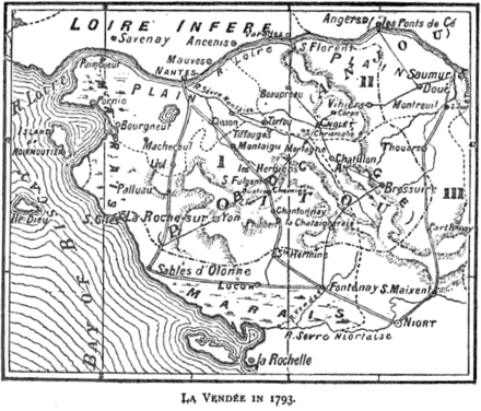 "Map from a book ""Francois-Severin Marceau (1769–1796)"" by Thomas George Johnson published in 1896 in London."