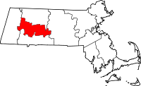 Kort over Massachusetts med Hampshire County markeret