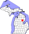 State map highlighting Ogemaw County