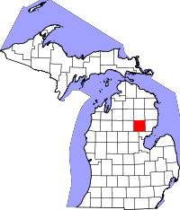 Kart over Michigan med Ogemaw County uthevet