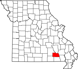 map of Missouri highlighting Carter County