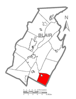 Map of Blair County, Pennsylvania highlighting North Woodbury Township