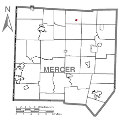 Location of Sheakleyville in Mercer County