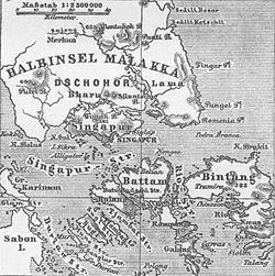 Carte allemande de Singapour, du sud de l'état malaisien de Johor et des îles indonésiennes de Batam et Bintan en 1888