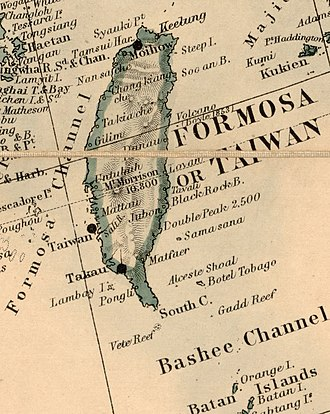 Map of Taiwan including Takau (Kaohsiung) (1880) Map of Taiwan (Formosa) in 1880, from- Stanford's map of the empires of China and Japan with the adjacent parts of the Russian Empire, India, Burma etc. LOC 2006458442 (cropped).jpg