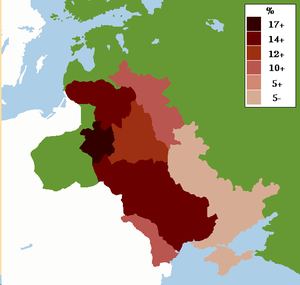 Pale of Settlement - Map showing percentage of Jews in the Pale of Settlement in the Russian Empire c. 1905