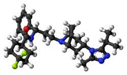 Ball-and-stick model of the maraviroc molecule
