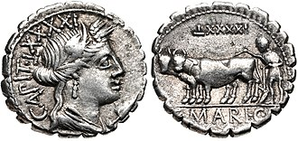 Maria (gens) - Denarius of Gaius Marius Capito, 81 BC.  Ceres is shown on the obverse, while the reverse depicts a ploughman with yoke of oxen.