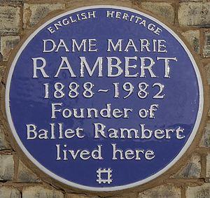 Marie Rambert - Blue plaque, 19 Campden Hill Gardens, London