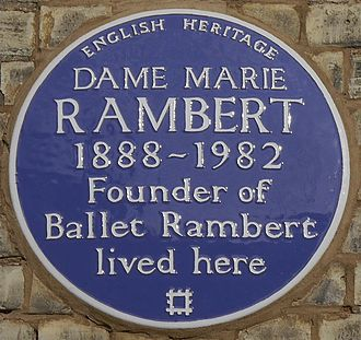 Marie Rambert - Blue plaque, 19 Campden Hill Gardens, London