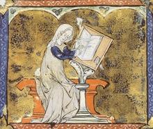 Illuminated manuscript image of Marie de France