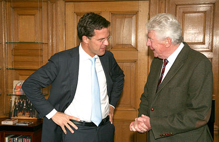 Prime Minister Mark Rutte and Wim Kok in Het Torentje on 4 April 2011. Mark Rutte en Wim Kok terug in het Torentje.jpg