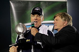 Marty Schottenheimer - Schottenheimer holding the 2011 UFL Championship following the Destroyers' win over Las Vegas.