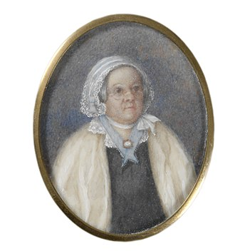 Mary Reibey - Portrait of Reibey, miniature watercolour on ivory, dated around 1835