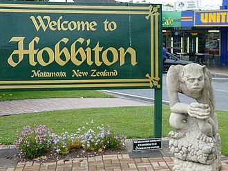 "The Lord of the Rings - ""Welcome to Hobbiton"" sign in Matamata, New Zealand, where the film trilogy was shot."
