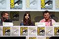Matt Smith, Jenna Coleman & Steven Moffat (9362653321).jpg