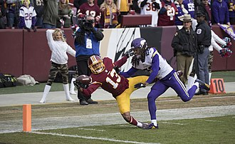 Maurice Harris (American football) - For his first career touchdown, Harris made a one-handed catch against the Minnesota Vikings in 2017