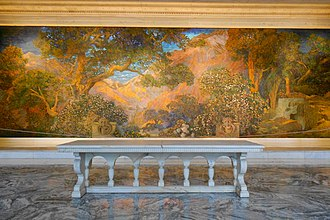 Maxfield Parrish - Dream Garden, glass-mosaic mural by Parrish and made by Louis Comfort Tiffany, exhibited at the Curtis Publishing Company, Philadelphia