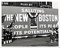 """Mayor John F. Collins in a unique setting delivers nation-wide televised address on """"The New Boston"""". This was a highlight of halftime ceremonies of the Boston Patriots vs. Houston Oilers pro grid tilt at Harvard Stadium (13847876974).jpg"""