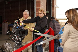 South Salt Lake, Utah - Mayor Wood filming a commercial for the  University of Phoenix