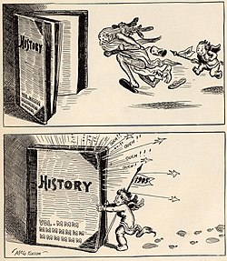 Baby New Year 1905 chases old 1904 into the history books in this cartoon by John T. McCutcheon