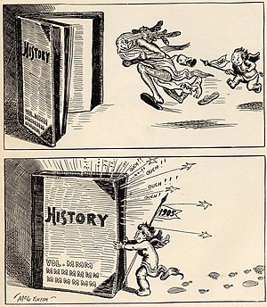 New Year - Baby New Year 1905 chases old 1904 into the history books in this cartoon by John T. McCutcheon.
