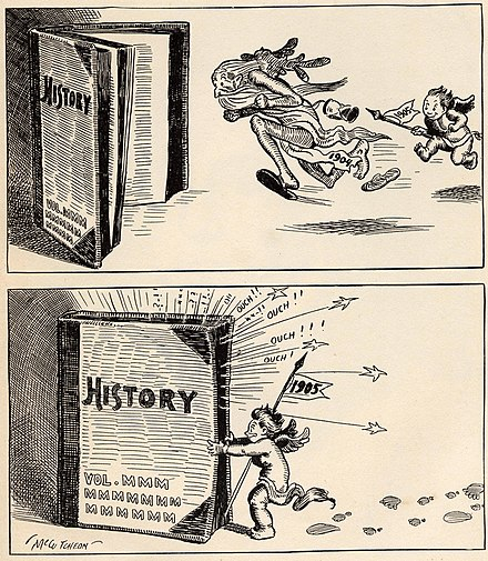 """Baby New Year"", a cartoon by John T. McCutcheon depicting the new year 1905 chasing the old 1904 into the history books McCutcheonNY1905.jpg"