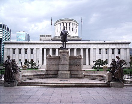 The Ohio Statehouse and its William McKinley Monument McKinley Memorial Ohio Statehouse.JPG