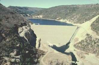 Dolores River - View of McPhee Dam and Reservoir, in Montezuma County, Colorado