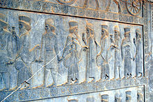Medes and Persians at eastern stairs of the Apadana, Persepolis.JPG